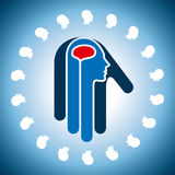 Creative concept of the human brain in hand icon Royalty Free Stock Photo