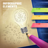 Creative concept infographic with lighting bulb and pencil Stock Images