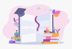 Free Creative Concept Of University Education, Schooling, Obtaining An Academic Degree. Students Are Reading A Book. Colorful Vector Royalty Free Stock Images - 160930389