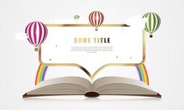 Creative concept - Open Book With Air Balloons. Vector Stock Image