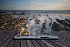 Creative concept pages of book Long exposure landscape rocky sho Stock Photography