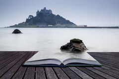 Creative concept pages of book St Michael's Mount Bay Marazion l. Andscape pre-dawn long exposure Cornwall England Royalty Free Stock Photography