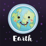 Creative concept planet Earth globe with a sweet cute face smiling for humanity earth day cartoon modern flat design style. Vector carton illustration of Royalty Free Stock Image