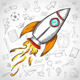 Creative Concept. Rocket Launch Education Doodles Background.  royalty free illustration