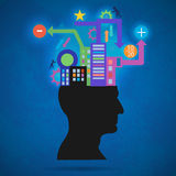 The creative concept silhouette of the head, brain, and pulses. process of human thinking. The concept of intelligence Royalty Free Stock Images