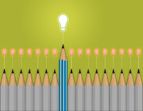 Creative concept, think out of the box. Pencil light bulb 3d as think outside of the box as concept Stock Photo