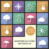Creative concept vector Flat Icon Set of weather elements for Web and Mobile Applications. Vector illustration creative Stock Photo
