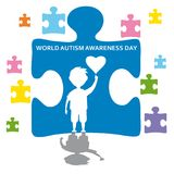 Creative concept vector illustration for World Autism awareness day. Can be used for banners, backgrounds, badge, icon. Medical posters, brochures, print and Royalty Free Illustration