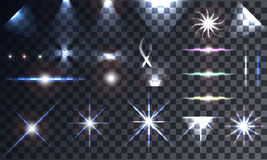 Creative concept Vector set of glow light effect stars. Bursts with sparkles  on black background. For illustration template art design, banner for Christmas Stock Photo