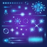 Creative concept Vector set of glow light effect stars bursts with sparkles  on black background. For Royalty Free Stock Image