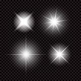 Creative concept Vector set of glow light effect stars bursts with sparkles isolated on black background Royalty Free Stock Photography