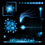 Creative concept Vector set of glow light effect stars bursts with sparkles isolated on black background Stock Photo