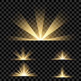 Creative concept Vector set of glow light effect stars bursts with sparkles isolated on black background. Royalty Free Stock Photos