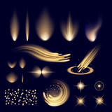 Creative concept Vector set of glow light effect stars bursts with sparkles isolated on black background. For royalty free stock images