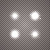 Creative concept Vector set of glow light effect stars bursts with sparkles isolated on transparent background stock illustration