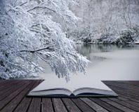 Creative concept Winter landscape magic book