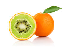 Creative conception of orange and. On white background stock photo