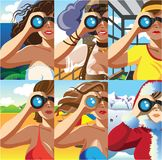 Through the binocular. Creative conceptual vector set. Woman looking through the binocular stock illustration