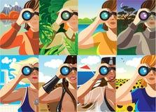 Through the binocular. Creative conceptual vector set. Woman looking through the binocular royalty free illustration