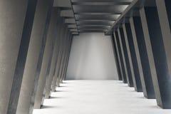 Creative concrete tunnel interior. Futuristic design and accomodation concept. 3D Rendering royalty free illustration