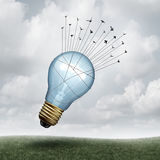 Creative Connect. And social thinking symbol as a group of birds pulling upward a giant lightbulb as a creativity and inspiration metaphor with 3D illustration Royalty Free Stock Photos