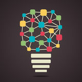 Creative connecting node bulb Royalty Free Stock Photos