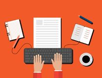 Creative Content Writing, Blogging Post, Digital Media Flat Illustration Stock Images