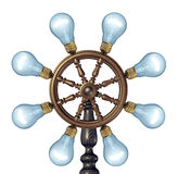 Creative Control. Business concept with a marine ship steering and navigating a wheel made with a group of illuminated glass light bulbs as a symbol for royalty free illustration