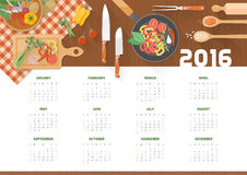 Creative cooking calendar 2016. With kitchen utensils and vegetables on a wooden worktop, top view Royalty Free Stock Photo