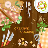 Creative cooking kitchenware top view. Vector illustration Royalty Free Stock Images
