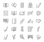 Creative copywriting vector illustration icon collection set. Outlined basic elements that represents marketing and advertising. stock illustration