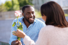 Creative courteous man giving his lady a pretty flower. For you, my love. Enthusiastic handsome pleasant guy making his girlfriend smile while surprising her Royalty Free Stock Photo