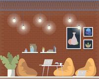 Creative Coworking Freelance Area Interior Design. Comfortable Shared Open Workplace for Freelancer with Beanbag Chair. Laptop on Floor. Informal Office. Flat stock illustration