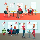 Creative Coworking Interior Composition. Creative team coworking people gradient flat compositions with doodle style human characters and indoor office Royalty Free Stock Photo