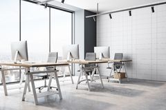 Creative coworking office interior. With panoramic New York city view and daylight. 3D Rendering vector illustration