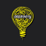 Creative creativity word on bulb design concept Royalty Free Stock Photography