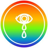 A creative crying eye circular in rainbow spectrum. An original creative crying eye circular in rainbow spectrum stock illustration
