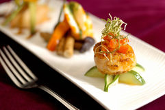 Creative Cuisine Appetizer  Scallops Seafood. Its Creative seafood dishes Royalty Free Stock Image
