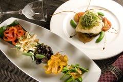 Creative Cuisine Appetizer Shrimp Seafood. Shrimp appetizers . Fish steak Royalty Free Stock Images