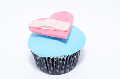 Creative cupcake. With a heart made of fondant Royalty Free Stock Photography