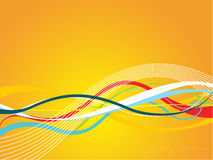 Creative curves and swirls on yellow background Stock Images
