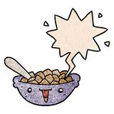 A creative cute cartoon bowl of cereal and speech bubble in retro texture style. An original creative cute cartoon bowl of cereal and speech bubble in retro royalty free illustration