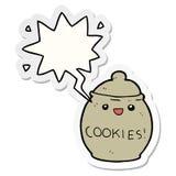 A creative cute cartoon cookie jar and speech bubble sticker. An original creative cute cartoon cookie jar and speech bubble sticker vector illustration