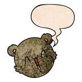 A creative cute cartoon teddy bear face and speech bubble in retro texture style. An original creative cute cartoon teddy bear face and speech bubble in retro royalty free illustration