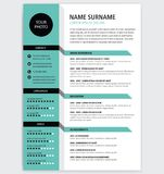 Creative CV / resume template green color minimalist. Creative CV / resume template teal green color background minimalist vector illustration