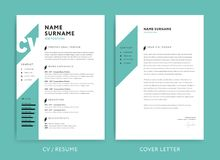Creative CV template green color background. Creative CV / resume template teal green background color minimalist vector Royalty Free Stock Images