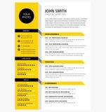 Creative CV / resume template yellow color minimalist vector. Creative CV / resume template yellow color background minimalist vector stock illustration