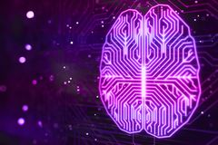 Creative cybernetic brain. Concept with CPU digital background. 3D render Royalty Free Stock Photography