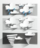 Creative 3D Cartoon Weather Banners. Vector illustration Stock Image