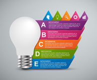 Creative 3D light bulb infographics design template. Royalty Free Stock Images